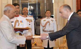 Ambassador-Designate of the Republic of Azerbaijan, Ashraf Farhad Shikhaliyev presenting his credentials to the President, Ram Nath Kovind