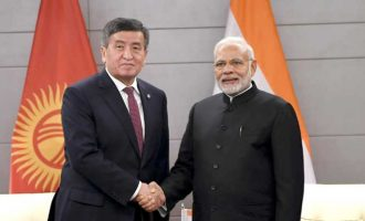 The Prime Minister, Narendra Modi meeting the President of Kyrgyzstan, Sooronbay Jeenbekov