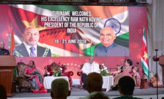 The President of India, Ram Nath Kovind, addressing at Suriname Chamber of Commerce and Industry