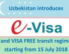 Uzbekistan introduces E-VISA and VISA FREE transit regime starting from 15 July 2018