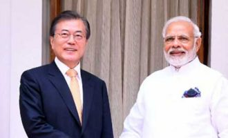Prime Minister, Narendra Modi meeting the President of the Republic of Korea, Moon Jae-in