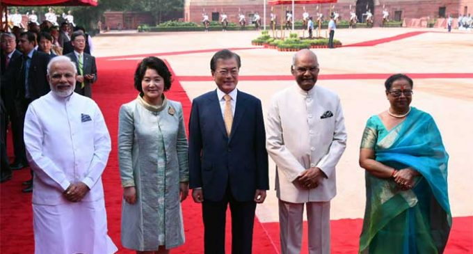 S.Korean President accorded ceremonial welcome
