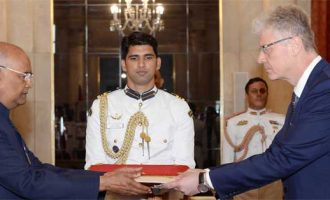 Ambassador-designate of the Slovak Republic, Ivan Lancaricm presenting his credentials to the President