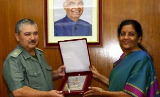 Raksha Mantri Nirmala Sitharaman and the Defence Minister of Uzbekistan Major General Abdusalom Azizov