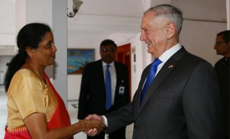 Raksha Mantri Nirmala Sitharaman receiving the US Secretary of Defence James Mattis
