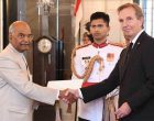 The Ambassador-designate of the Iceland, Gudmundur Arni Stefansson presenting his credentials to the President, Ram Nath Kovind