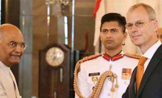 The Ambassador-designate of the Kingdom of Netherlands, Marten van den Berg presenting his credentials to the President, Ram Nath Kovind