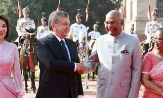 President of India, Ram Nath Kovind, receives Shavkat Miromonovich Mirziyoyev, President of the Republic of Uzbekistan