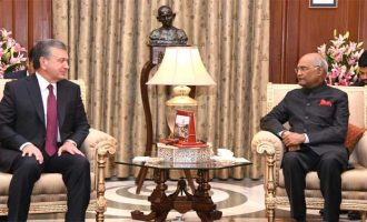 PRESIDENT HOSTS PRESIDENT OF UZBEKISTAN; EMPHASISES CONNECTIVITY PROJECTS AND ECONOMIC RELATIONS