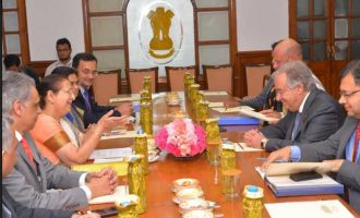United Nations Secretary General Antonio Guterres called on Lok Sabha Speaker Sumitra Mahajan in Parliament House
