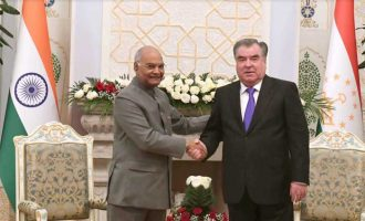 President of India, Ram Nath Kovind, during meeting with Emomali Rahmon, President of Tajikistan