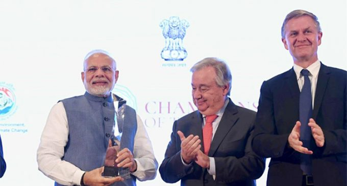 PM Modi receives UN Champions of the Earth award