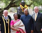 President of India, Ram Nath Kovind, during unveiling of Statue of Mahatma Gandhiji at Jubilee Park, Sydney,