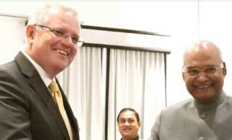 Scott Morrison, Prime Minister of Australia, calling on The President of India, Ram Nath Kovind