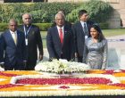 President of Maldives, Ibrahim Mohamed Solih laying wreath at the Samadhi of Mahatma Gandhi, at Rajghat