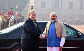 The Prime Minister, Narendra Modi with the Prime Minister of Norway, Erna Solberg