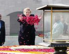 The Prime Minister of Norway, Erna Solberg paying floral tributes at the Samadhi of Mahatma Gandhi