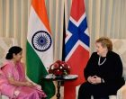 Sushma Swaraj calls on Norwegian PM