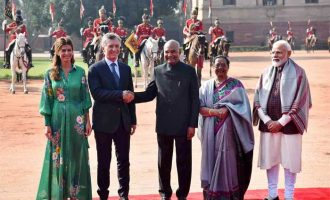 The President, Ram Nath Kovind and the Prime Minister, Narendra Modi with the President of the Argentine Republic, Mauricio Macri