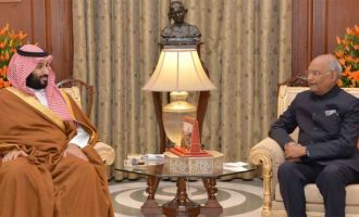 PRESIDENT OF INDIA HOSTS CROWN PRINCE OF SAUDI ARABIA; SAYS INDIA WISHES TO BE A PARTNER IN THE KINGDOM'S 'VISION 2030'