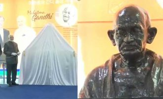 Modi unveils Gandhi's bust at South Korean university