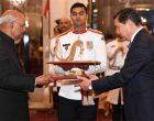 The Ambassador-designate of Kyrgyz Republic, Asein Isaev presenting his credential to the President of India, Ram Nath Kovind