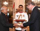 The Ambassador-designate of Montenegro, Zoran Jankovic presenting his credential to the President of India, Ram Nath Kovind