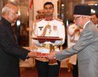 The Ambassador-designate of Nepal, Nilamber Acharya presenting his credential to the President of India, Ram Nath Kovind