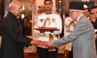 The Ambassador-designate of Nepal, Nilamber Acharya presenting his credential to the President of India, Ram Nath Kovind