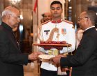 The High Commissioner-designate of the Republic of Seychelles, Thomas Selby Pillay presenting his credential to the President of India, Ram Nath Kovind