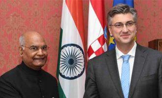 The President, Ram Nath Kovind and the Prime Minister of the Republic of Croatia, Andrej Plenkovic