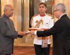The Ambassador-designate of Peru, Carlos Rafael Polo Castaneda presenting his credential to the President of India, Ram Nath Kovind