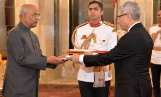 The Ambassador-designate of Peru, Carlos Rafael Polo Castaneda presenting his credential to the President of India, Ram Nath Kovind