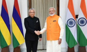 The Prime Minister, Narendra Modi meeting the Prime Minister of the Republic of Mauritius, Pravind Kumar Jugnauth