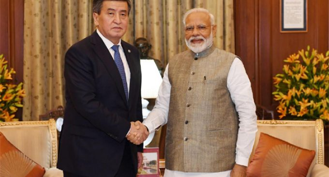 Prime Minister Narendra Modi meeting the President of Kyrgyzstan, Sooronbay Jeenbekov during the Prime Minister Oath Ceremony at Rashtrapati Bhavan