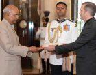 The Ambassador-designate of the Republic of Nicaragua, Rodrigo Coronel Kinloch presenting his credential to the President, Ram Nath Kovind
