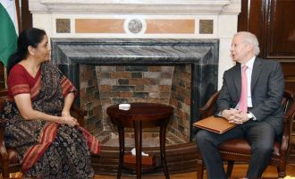 The US Ambassador to India, Kenneth I. Juster calling on the Union Minister for Finance and Corporate Affairs, Nirmala Sitharaman