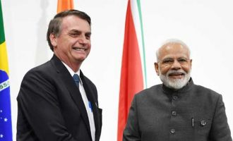 The Prime Minister, Narendra Modi meeting the President of Brazil, Jair Bolsonaro
