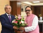 Japanese Ambassador Kenji Hiramatsu and Cabinet Minister Dr. Mahendra Nath Pandey meet to discuss about strengthening partnership between India and Japan