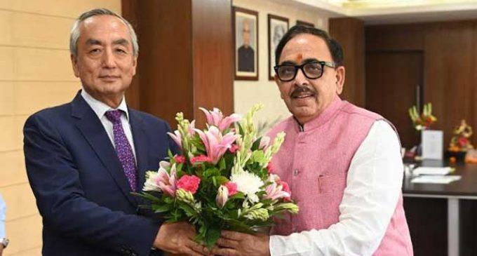 Japanese Ambassador Kenji Hiramatsu and Cabinet Minister Dr. Mahendra Nath Pandey meet to discuss about strengthening partnership between India and Japan