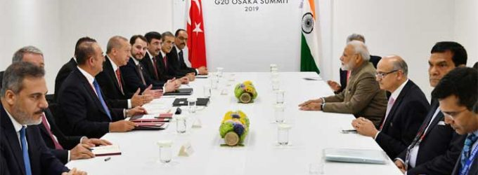 The Prime Minister, Narendra Modi meeting the President of Turkey, Recep Tayyip Erdoga