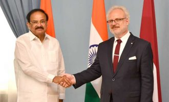 The Vice President, M. Venkaiah Naidu at a tete-a-tete with the President of the Republic of Latvia, Egils Levits