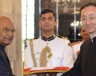 The Ambassador-designate of the People's Republic of China, Sun Weidong presenting his credentials to the President, Ram Nath Kovind