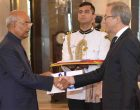 The Ambassador-designate of the Greece, Dionyssios Kyvetos presenting his credentials to the President, Ram Nath Kovind