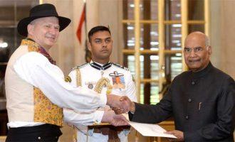 The Ambassador-designate of Norway, Hans Jacob Frydenlund presenting his credentials to the President, Ram Nath Kovind