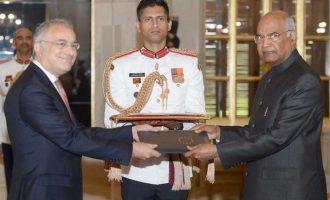 The Ambassador-designate of the European Union, Ugo Astuto presenting his credentials to the President, Ram Nath Kovind