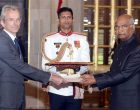 The Ambassador-designate of France, Emannuel Lenain presenting his credentials to the President, Ram Nath Kovind