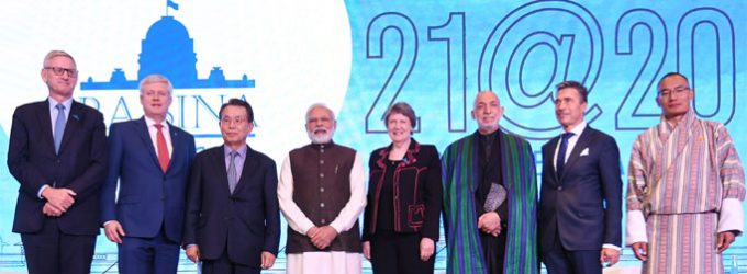 Prime Minister Narendra Modi with the global leaders at the inaugural session of Raisina Dialogue 2020
