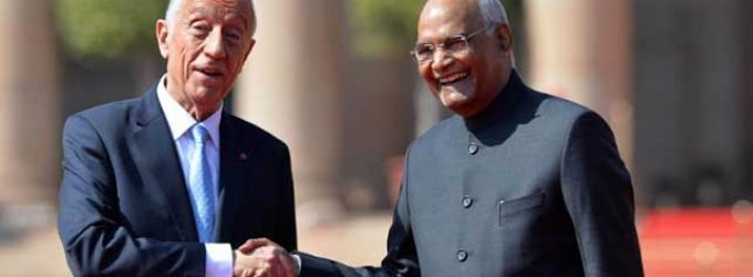 Marcelo Rebelo de Sousa, President of the Portuguese Republic received by the President of India, Ram Nath Kovind
