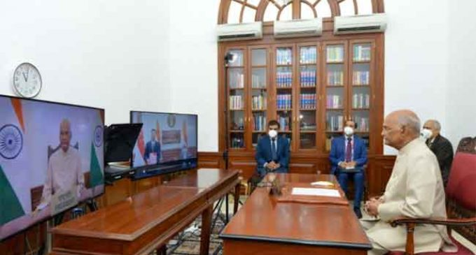 ENVOY OF SINGAPORE PRESENTS LETTER OF CREDENCE THROUGH VIDEO CONFERENCE